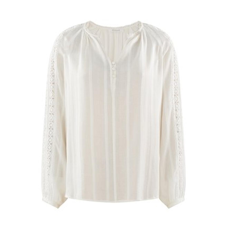 חולצה עם עיטורים בשרוולים PROMOD לנשים - לבן