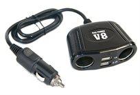 מפצל 4 תקעים לשקע מצית ברכב מבית V8 מאפשר טעינת של 4 מכשירים בו זמנית.