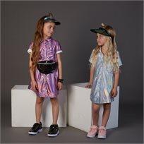 שמלת ORO לילדות (מידות 2-8 שנים) חלל ורוד מבריק