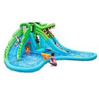 מתקן מים מתנפח הכולל 2 מגלשות + תותח מים בעיצוב תנין דגם Happy Hop 9517