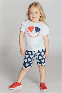 חליפת טריקו בהדפס חיוך ולבבות לבנות Kiwi בצבע כחול כהה/לבן