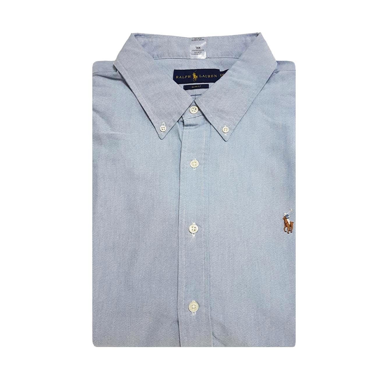 חולצה מכופתרת POLO RALPH LAUREN SLIM FIT מידות גדולות - תכלת עם לוגו חום