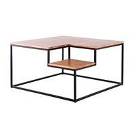 שולחן סלון מעוצב משולב עץ אורן ומתכת בסגנון מדורג