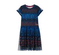 שמלה לילדות בסגנון האוקיינוס Desigual דגם Deep Sea בצבע כחול/אדום