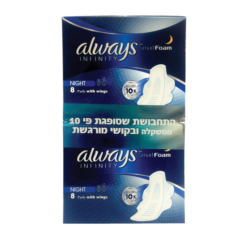 מארז 5 חבילות תחבושות INFINITY לספיגה כפולה במארזים לבחירה Always - תמונה 3