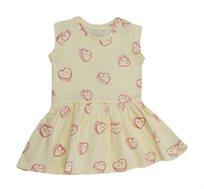 שמלה בהדפס לבבות לבנות - צהוב/ורוד