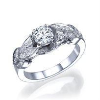 """טבעת יהלומים וינטאג' """"קיירה"""" 0.75 קראט זהב לבן"""