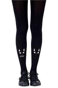 גרביון עם הדפס לבן Nice Kitty Black בצבע שחור