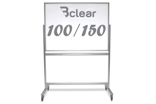 """לוח זכוכית מחיק מגנטי נייד על גלגלים דו צדדי 100X150 ס""""מ"""