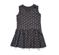 שמלה קצרה BABY ROCK עם הדפס גולגולות - צבע אפור פחם