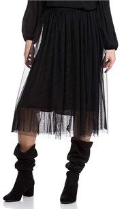 חצאית בלרינה טול עם תחתית באורך מידי בצבע שחור