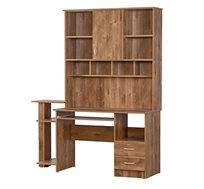 שולחן מחשב משולב ספריה עם מגירות ותאי אחסון