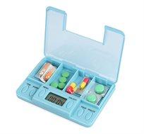 ארגונית דיגיטלית לתרופות המכילה 4 תאים וכוללת שעון תזכורת דיגיטלי