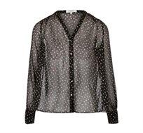 חולצה שקופה מכופתרת לנשים עם הדפס נקודות בצבע שחור