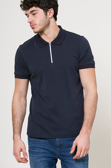 חולצת פולו חצי רוכסן לגברים - כחול כהה