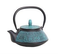 קומקום תה יפני Terracota מעוצב יציקת ברזל בשילוב אמייל GURO במגוון צבעים לבחירה