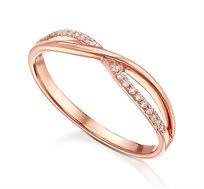 טבעת זהב 14K משובצת 20 יהלומים במשקל כולל של 0.07 נקודות
