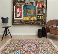 שטיח צמר בעבודת יד בגווני פסטל במגוון גדלים לבחירה