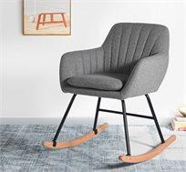 כורסת נדנדה בעיצוב מודרני בצבע אפור ורגלי מתכת דגם מאמי