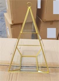 מתקן גאומטרי לנר/עציץ בשילוב מתכת בצבע זהב וזכוכית (משולש גבוה)