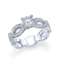 """טבעת אירוסין זהב לבן """"טינה"""" 1.01 קראט בעיצוב ייחודי"""