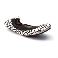 Yosi Samra Ballerina 343 - נעלי בלרינה לבנות בשילוב משבצות
