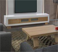 מערכת מזנון ושולחן לסלון בצבע לבן בשילוב עץ בגימור אפוקסי LEONARDO