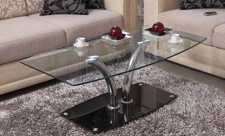 מודרני שולחן סלון בעיצוב מודרני בשילוב של זכוכית מחוסמת וניקל FP-68