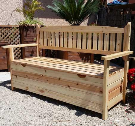 מסודר ספסל גינה מעץ אשוח בעל שלושה מקומות ישיבה + תא איחסון גדול במבחר GW-53
